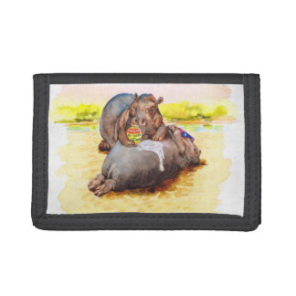 Hippo in the sun trifold wallet