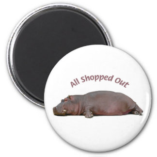Hippo Is All Shopped Out and Resting 2 Inch Round Magnet
