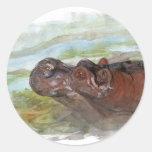 hippo.jpg pegatina redonda