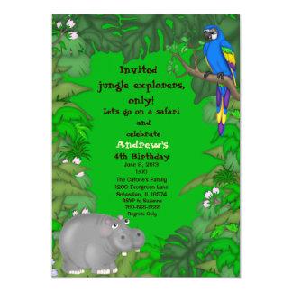 Hippo Jungle Birthday Invitation