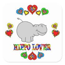 Hippo Lover Square Sticker