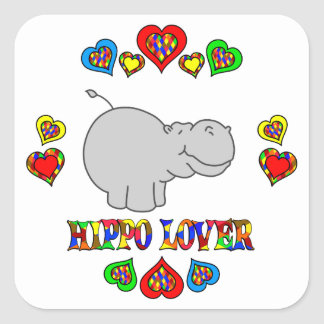 Hippo Lover Square Sticker