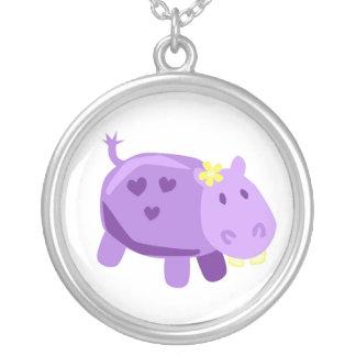 Hippo Round Pendant Necklace