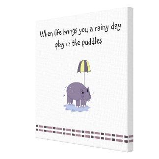 Hippo on a Rainy Day Canvas Print