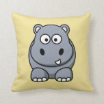 Hippo on a Yellow Background Pillow