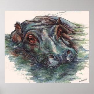 Hippo Painting Hippopotamus Portrait Poster