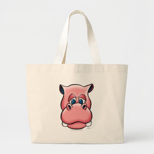 Hippo (pink) canvas bag