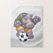 Hippo Playing Soccer Jigsaw Puzzle