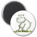 Hippo plays Golf Refrigerator Magnets