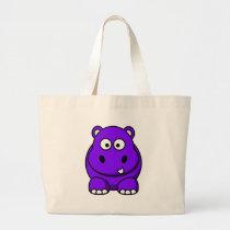 Hippo Purple Large Tote Bag