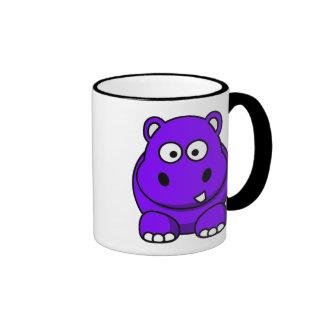 Hippo Purple Ringer Coffee Mug