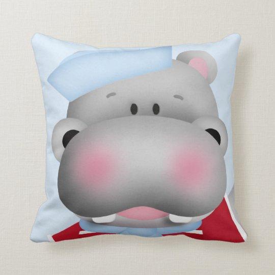 Hippo Sailor Made In America Throw Pillow