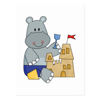 Hippo Sand Castle T-shirts and Gifts Postcard