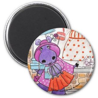 Hippo Shopping-Hippo shop-a-lot amus! 2 Inch Round Magnet