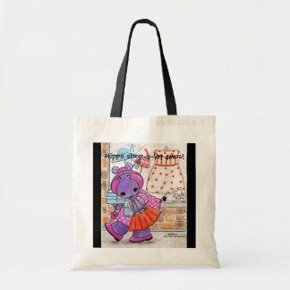 Hippo Shopping-Hippo shop-a-lot amus! Canvas Bag