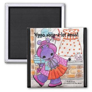 Hippo Shopping-Hippo shop-a-lot amus! Magnets