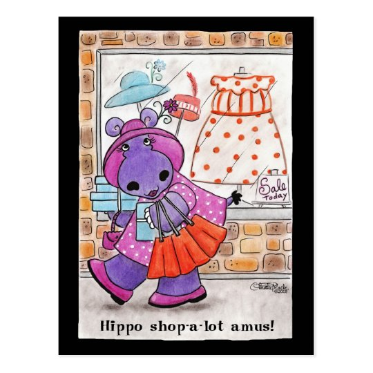 Hippo Shopping-Hippo shop-a-lot amus! Postcard