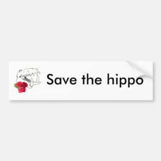 Hippo Skull with Roses Bumper Sticker
