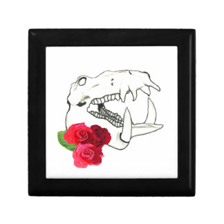 Hippo Skull with Roses Jewelry Box