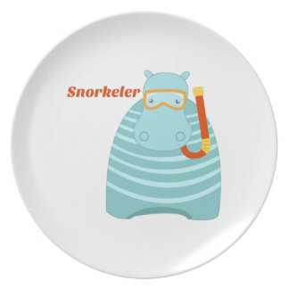 Hippo Snorkeler Party Plates