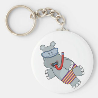 Hippo Snorkeler T-shirts and Gifts Keychain