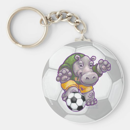 Hippo Soccer Star Key Chain