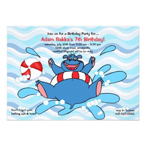 Hippo Splash Invitation