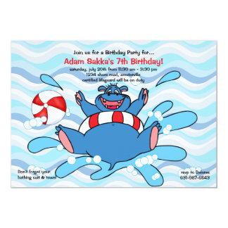 "Hippo Splash Invitation 5"" X 7"" Invitation Card"