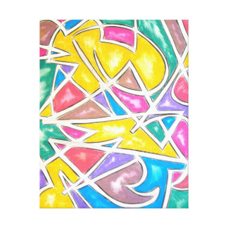Hippo Star-Abstract Art Hand Painted Geometric Canvas Print