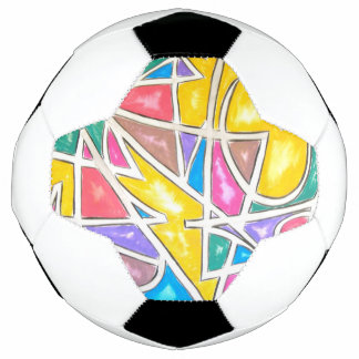 Hippo Star-Abstract Art Hand Painted Geometric Soccer Ball