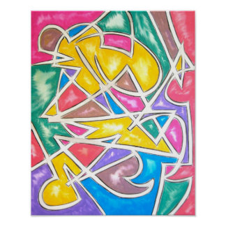 Hippo Star-Abstract Geometric Art Handpainted Poster