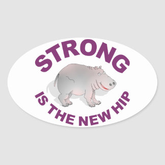 Hippo, strong is the new hip oval sticker