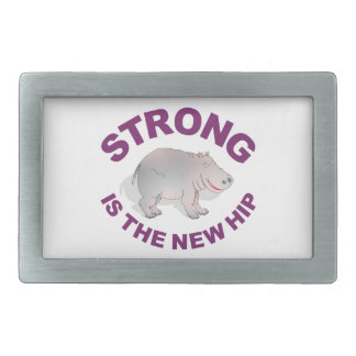 Hippo, strong is the new hip rectangular belt buckle