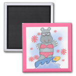 Hippo Surfing Tshirts and Gifts 2 Inch Square Magnet