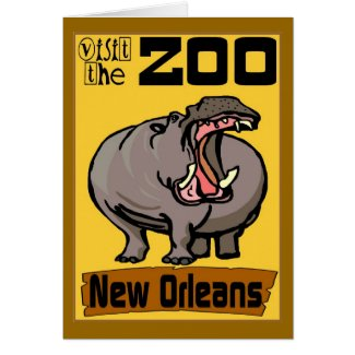 Hippo:Visit Zoo New Orleans Card