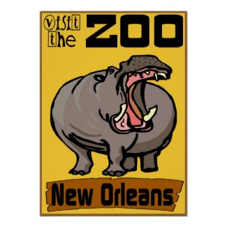 Hippo: Visit Zoo New Orleans Print