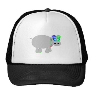 Hippo with beads & a mask: Mardi Gras tees & more Trucker Hat
