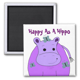 Hippo With Butterflies 2 Inch Square Magnet
