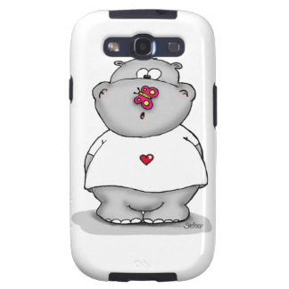 Hippo with Butterfly on his nose. Samsung Galaxy S3 Covers