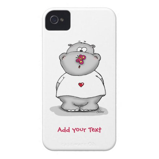 Hippo with Butterfly on his nose. iPhone 4 Cases