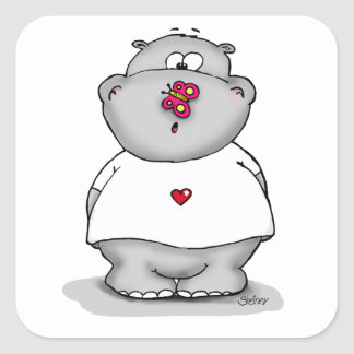 Hippo with Butterfly on his Nose Square Sticker