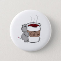 Hippo with Coffee Button