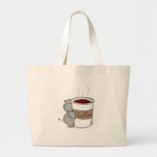 Hippo with Coffee Large Tote Bag