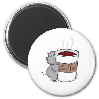 Hippo with Coffee 2 Inch Round Magnet