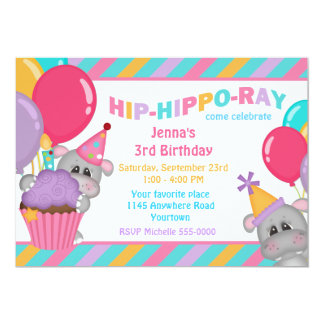 Hippo With Cupcake Child's Birthday Card
