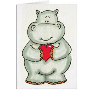 Hippo with Heart Card