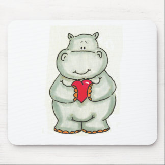 Hippo with Heart Mouse Pad