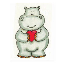 Hippo with Heart Postcard