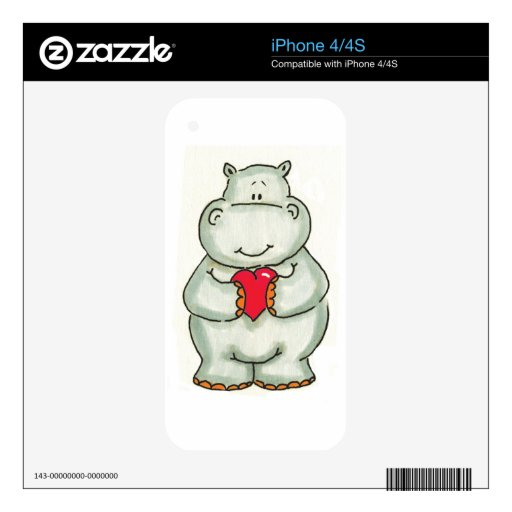 Hippo with Heart Skins For iPhone 4S