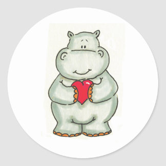 Hippo with Heart Round Stickers